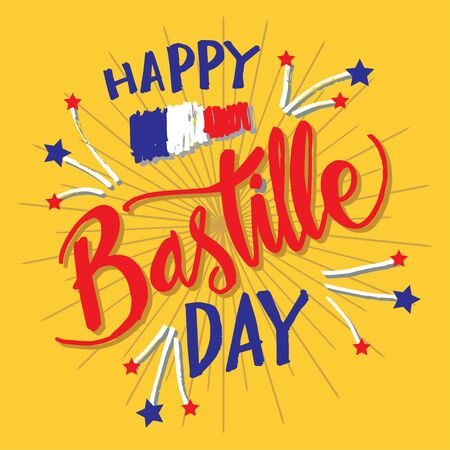 Happy Bastille Day, 14th of July. Greeting card.