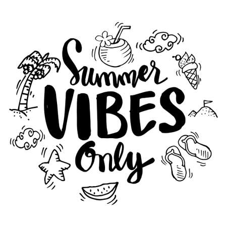 Summer vibes only lettering. For fashion shirts, posters, gifts or other printing machines.