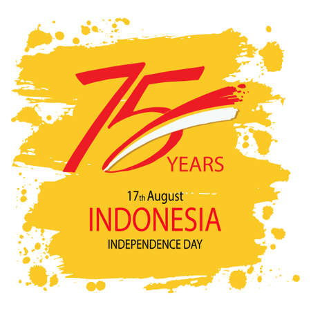75 years, Indonesia Independence Day greeting card. Ilustrace