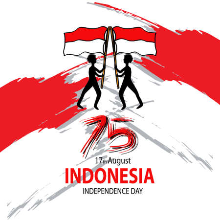 Indonesia Happy Independence Day  with two man holding the Indonesian flag. Greeting card. August 17 Vectores