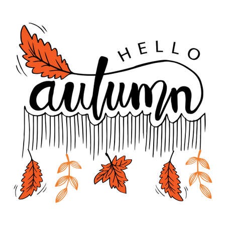 Hello Autumn greeting card. Hand drawing illustration.
