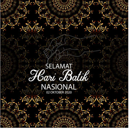 Selamat hari Batik nasional, Happy National Batik day. Indonesian Holiday Batik Day Illustration.
