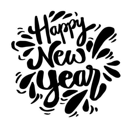 Happy New Year hand lettering congratulate inscription. Ilustração