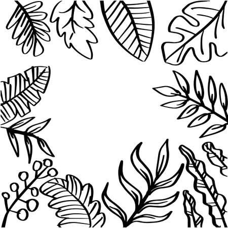 Decorative design leaf floral frame