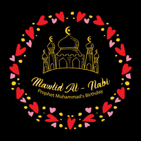 Mawlid al Nabi greeting card. Translate: Prophet Muhammad's Birthday.