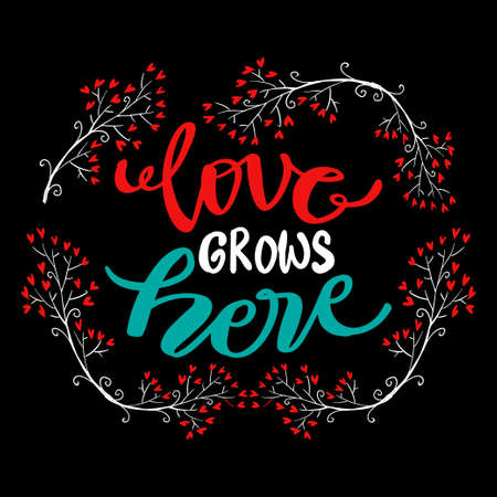 Love grows here, hand lettering. Quote typography. 向量圖像
