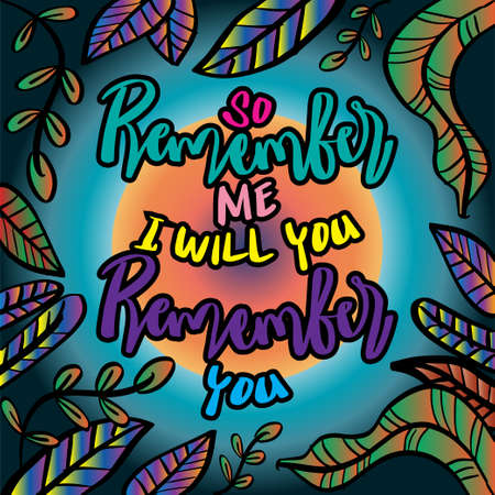 So remember me i will remember you. Quote quran Vector Illustratie