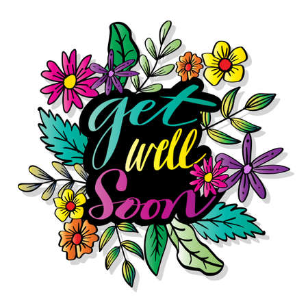 Get well soon, hand lettering. Greeting card.