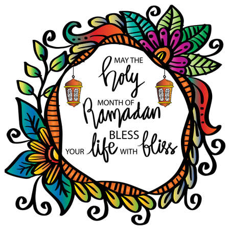 May the holy month of Ramadan bless your life with bliss. Ramadan quote. Vectores