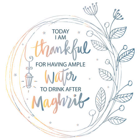 Today I am thankful for having ample water you drink after maghrib. Ramadan Quote.