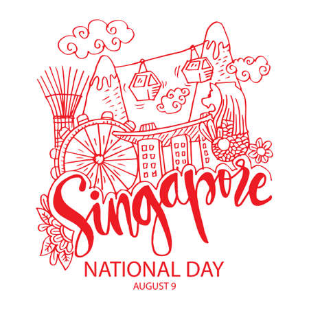 Singapore National Day poster concept. August 9th. Doodle style.