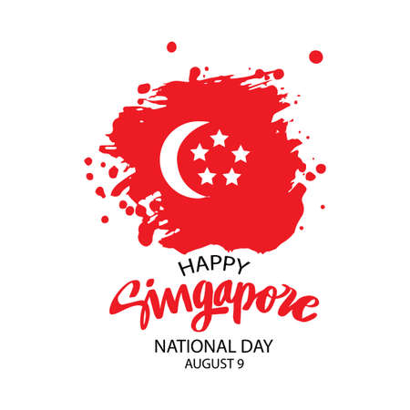 Flag of Singapore in grungy style. Singapore National day concept poster. August 9th. Vektoros illusztráció