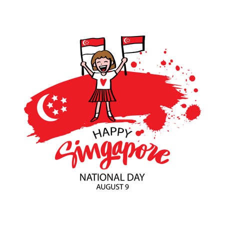 Cute girl holding Singapore flag. National day Singapore concept.