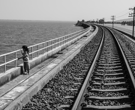 Girl and Railway