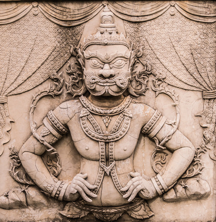 Giant bas-relief sculpture from Ramayana, one of the great Hindu epics photo