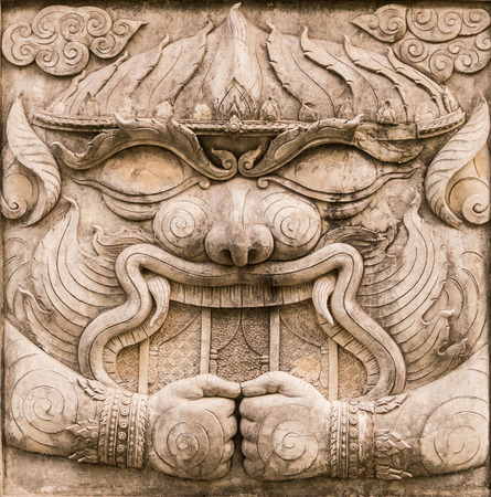 Hanuman bas-relief sculpture from Ramayana, one of the great Hindu epics photo
