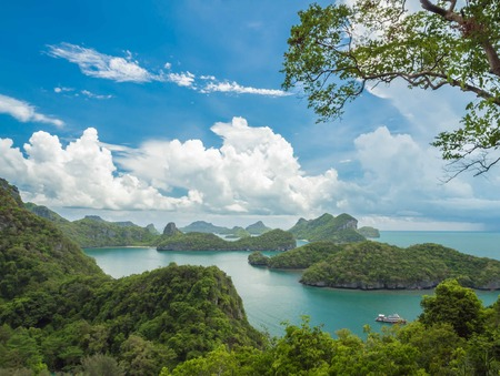 angthong: Clear blue sky from view point of Mue Koh Angthong National Marine Park, Samui