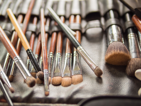 Various Make-up Brushes Set for the bride in Wedding Ceremony photo
