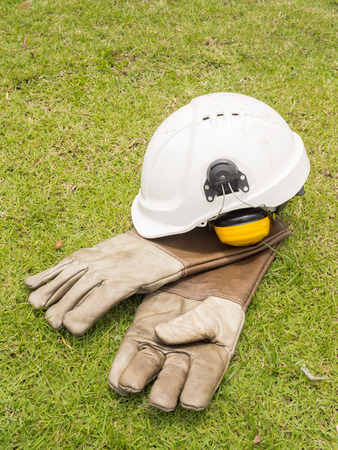 gas supply: Safety ear muffs helmet and cryogenic leather gloves for liquid gas supply