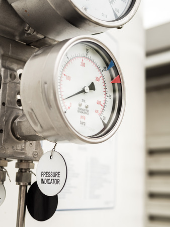 gas supply: Pressure gauge and level gauge in cryogenic liquid gas supply Stock Photo