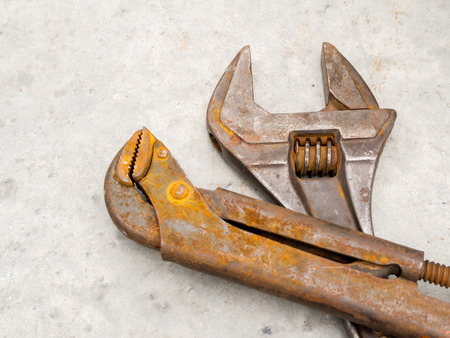 Rusty grunge wrench and spanner for maintenance engineer