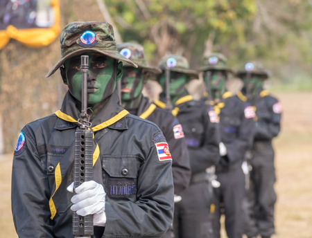 martial law: Seal team in Military Parade of Royal Thai Navy