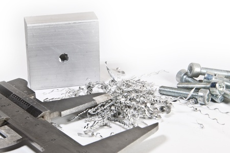 sliding caliper: Caliper with aluminium, cuttings and screws