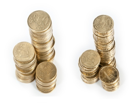 Stacks with Euro-coins (20 and 50 Cent) photo