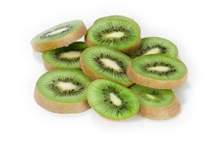 Kiwi slices isolated on white background photo