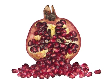 punica granatum: One open pomegranate Stock Photo