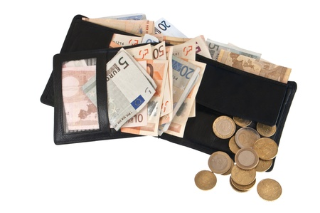 coin purse: Wallet with Euro bills and coins Stock Photo