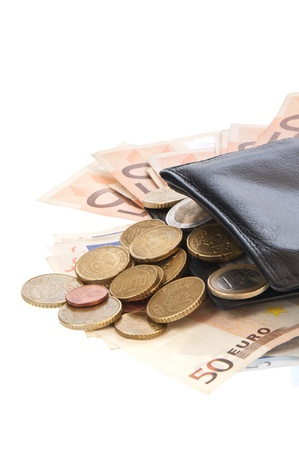 Wallet with Euro bills and coins photo