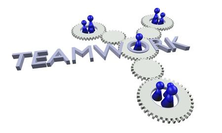 Teamwork illustration (blue & white) Stock Illustration - 10756817