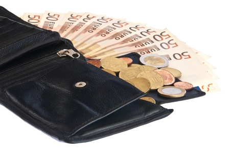 Wallet with money on white background photo