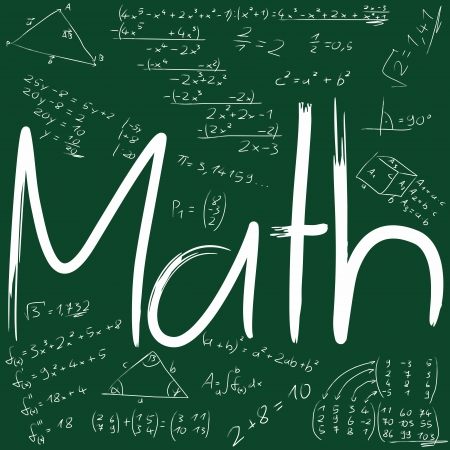 math: Board with mathematical formulas Stock Photo
