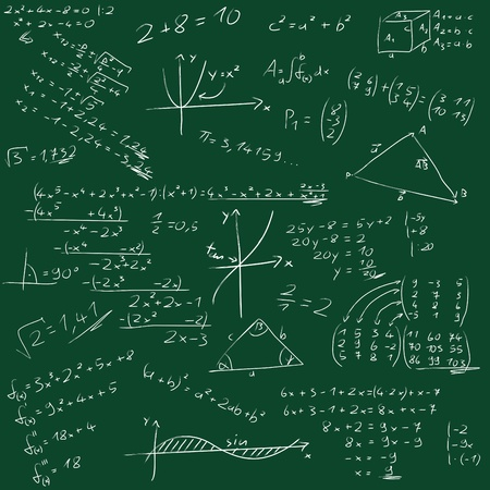 college classroom: Board with mathematical formulas Stock Photo