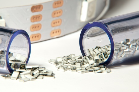 microelectronics: Close up picture of SMD resistors Stock Photo