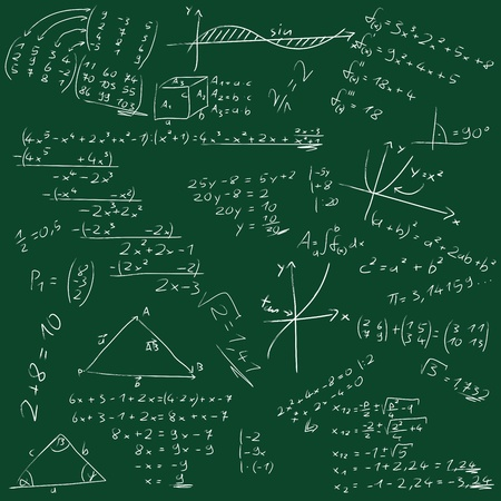compute: Board with mathematical formulas Stock Photo