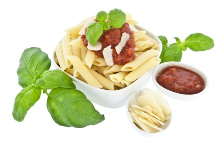chese: Penne in a bowl isolated on white background with tomatoe sauce and fresh chese (with clipping path)