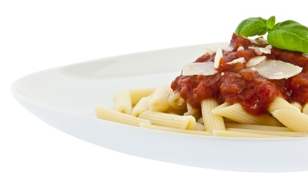chese: Penne with sauce, fresh basil and chese on a plate isolated on white background (with clipping path)