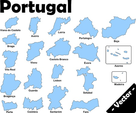 Portugals Provinces as vector in light blue  white Vector