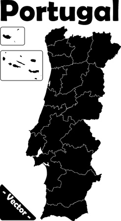 Portugal Vector in black  white with provinces Vector