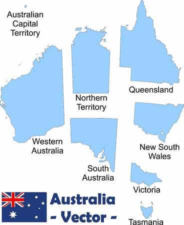western australia: Australias territories (with names) as vector image