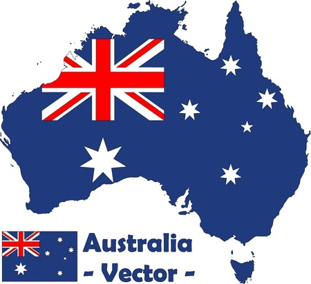 Australia with flag as vector image