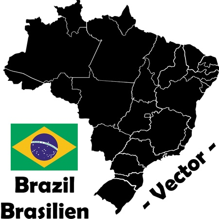 Brazil vector map with flag Vector