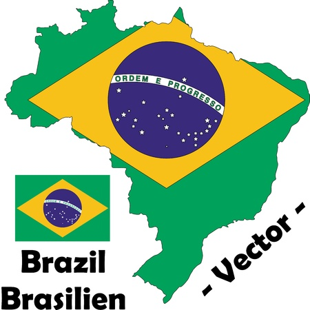 Brazil vector map with flag Stock Vector - 12603918