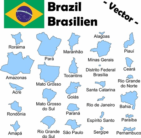 The administrative divisions of Brazil with names Vector