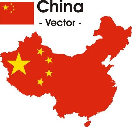 (バック グラウンドでフラグ) とベクター イメージとして中国の地図  イラスト・ベクター素材