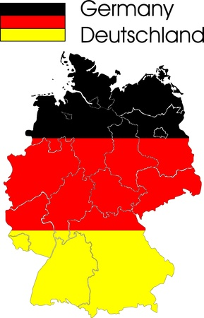 German map with provinces and flag in the background