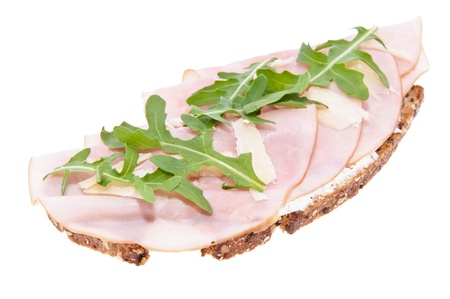 Gammon on bread isolated on white background Stock Photo - 13562457